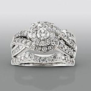 1 1/2 Carat Diamond 14k White Gold Engagement Ring